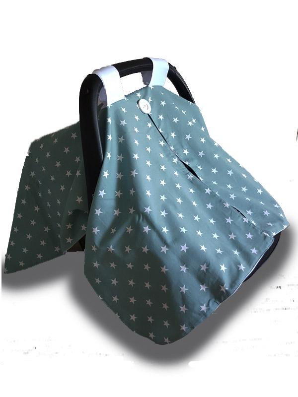 car seat pram cover cotton seafoam stars moocachoo. Black Bedroom Furniture Sets. Home Design Ideas